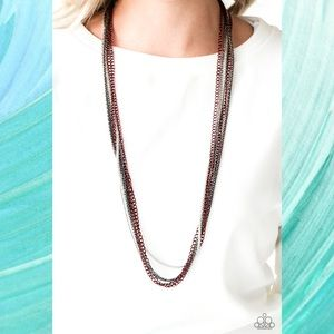 Colorful Calamity Red Multi Chain Necklace Set